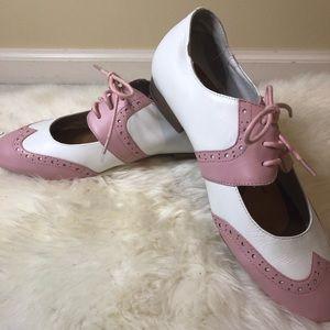 Jeffrey Campbell pink oxford saddle shoes